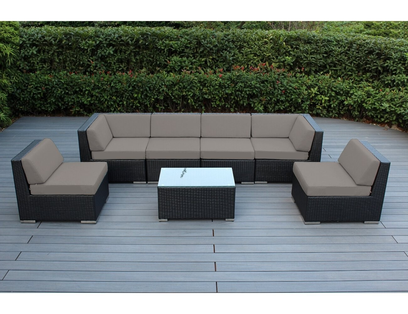 7 Piece Outdoor Wicker Patio Furniture Sectional Conversation Set